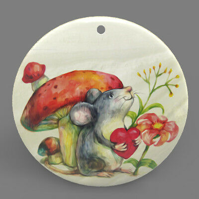 Natural Mother of Pearl Shell Rabbit Color Printing Pendant Necklace J1705 0546