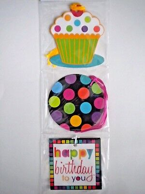 """PKG. OF 9 """"HAPPY BIRTHDAY"""" GIFT TAGS ~ 3 Different Designs ~ #1"""
