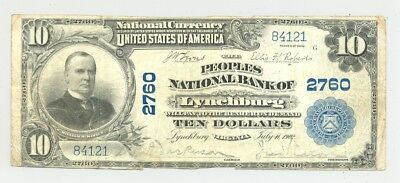 1902 $10 National Banknote from Peoples National Bank, Lynchburg, Virginia