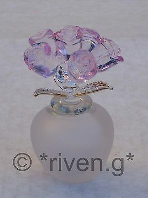PURPLE ROSES@BUNCH OF 6 BUDS@Frosted VASE@LOVE GIFT@22Ct Gold@VALENTINE BOUQUET