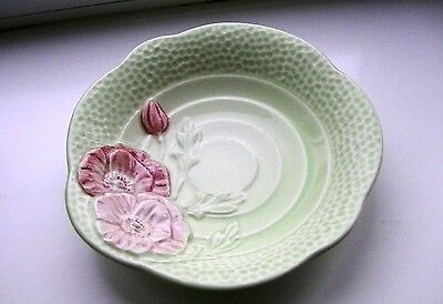 Traditional design Melba Ware ptetty trinket dish with pale green & pink flowers