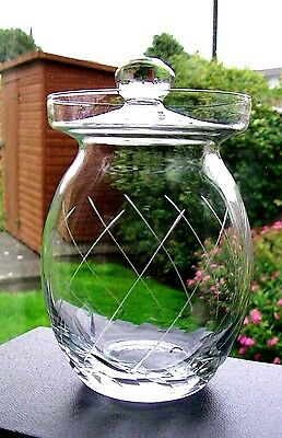 Lovely crystal glass preserves pot with flat lid. Cut leaves/curved lines design