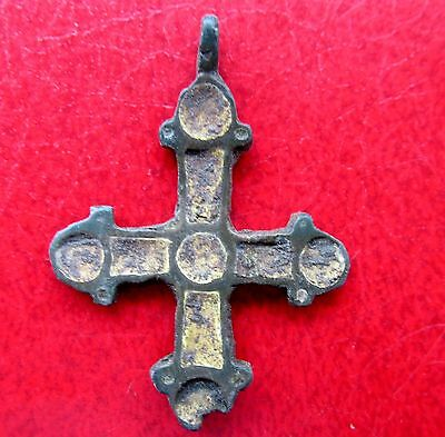 Ancient Viking Bronze Cross Pendant Kievan Rus. ENAMEL
