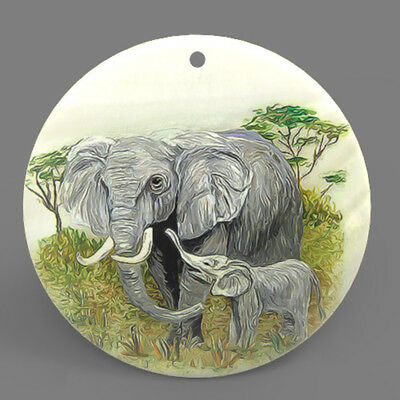 Mother of Pearl Shell Elephant Color Printing Pendant Necklace J1705 0428