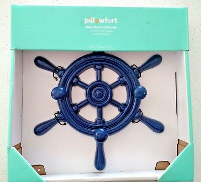 "NEW Pillowfort Cast Iron Ship Wheel Wall Hooks 11"" Boat Decor Navy Blue"