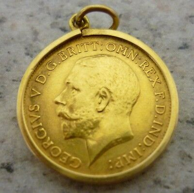 Solid 22ct Gold Half Sovereign George V Dated 1914 In 9ct Gold Pendant Mount