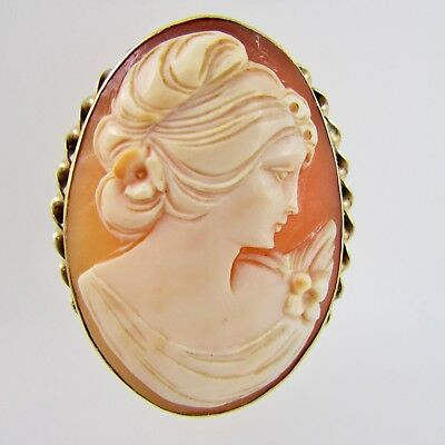 Vintage Shell Cameo 9ct Yellow Gold Oval Brooch / Pendant Fully Hallmarked