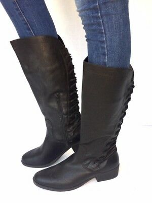 92d320bb52bd Women s Fashion Low Heel Mid-Calf Knee High Slouch Riding Boots Shoes-Black