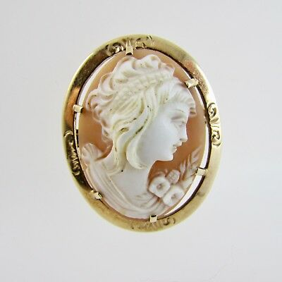 Vintage Cameo Shell 9ct Yellow Gold Oval Brooch or Pendant Fully Hallmarked 1971