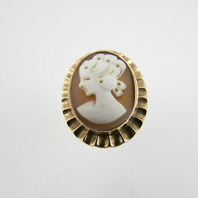 Vintage Large Cameo 9ct Yellow Gold Oval Ring 'Q 1/2' Fully Hallmarked 1970