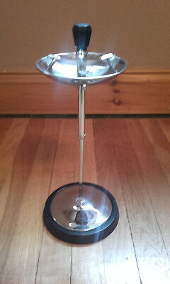 Vintage Art Deco ashtray, chrome and bakelite, floor standing, telescopic