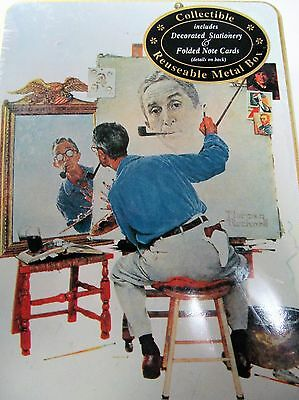 Vtg Norman Rockwell Collectible Tin Stationery Note Card Metal Box Self Portait