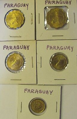 Lot of 5 Paraguay  Coins - 1 cent(1950),10,15,25,50 Centimos (1953) UNCIRCULATED