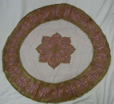 Round Embroidered Leaves Tablecloth Handmade 42 inch Pink Gold Mauve Floral