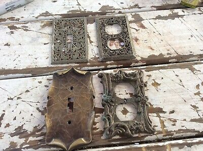 4 Vintage Brass Switch/ Outlet Covers