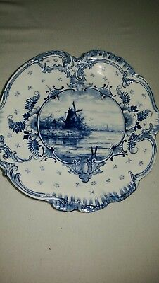 "Royal Bonn Antique ""Delft""   9"" Decorative Serving Plate Navy Blue Windmill"