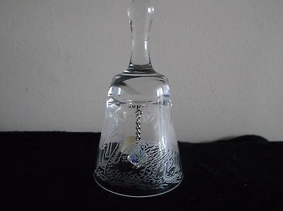 Wedgwood Full Lead Hand Cut Crystal Bell Mother, Swans Design 1980
