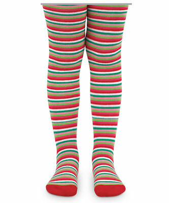 Girls Christmas Tights Red Green Pink Lime White Stripes 4-6 Jefferies Boutique