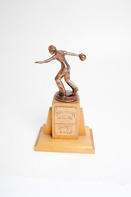 Vintage Retro Mid Century WOMAN's League Brass and Wood BOWLING TROPHY 1951