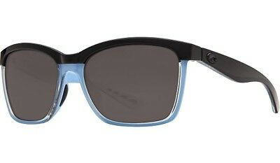 Costa Del Mar Sunglasses 580P Anaa Shiny Shiny Black Blue Gray Ana 97 Ogp Med