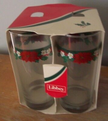"""Lot Of 4 Vintage 6"""" Libbey Christmas Glasses In Original Package - Holly Design"""