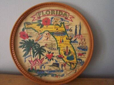 Vintage Souvenir Of Florida Bamboo And Glass Round Serving Tray-Carrib Novelty