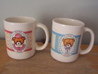 Set Of 2 Vintage Coffee Mugs - Mama And Papa Bear