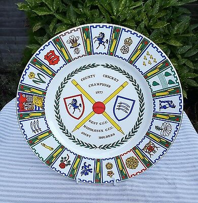 KENT CCC/MIDDLESEX CCC - COUNTY CHAMPIONSHIP WINNERS PLATE 1977 [by Coalport]