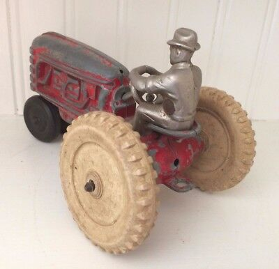 Vintage Hubley Toys Diecast Metal Tractor W/ Cast Iron Driver- Early 40's