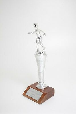 Vintage Retro WOMAN's League Silver and Wood BOWLING TROPHY 1963 to 1964