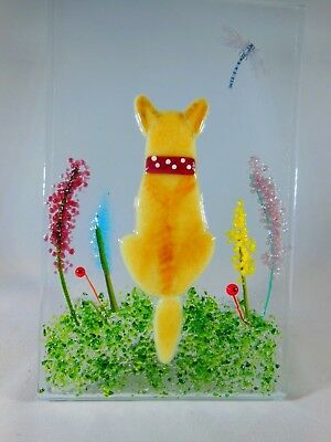 Bespoke 'your dog' ornament in fused glass on oak base handcrafted. ideal gift