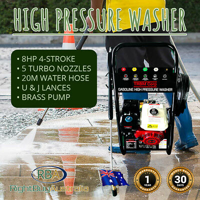 High Pressure Washer 8 HP 4800psi 20M Water Hose 5 Turbo Nozzles U & J Lances