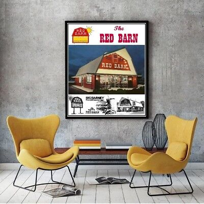 "Large Size 24""x32"" Red Barn Family Restaurant Poster - Big Barney Fast Food"