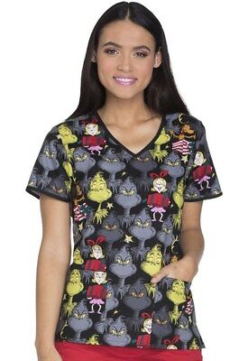 Dr Seuss Holiday Women's V-Neck Scrub Print (Cindy-Lou Who) (TF615-SELO )