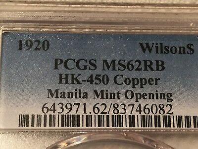 Philippines Wilson So Called Dollar 1920 PCGS MS 62 RB HK 450 almost Full Red