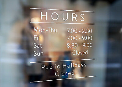 Custom Business Trading Opening Hours Sign Window Wall Decal for Shop