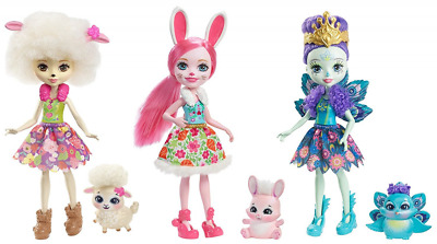Enchantimals Toy Doll Figure with Pet Animal Set (3 Pack)
