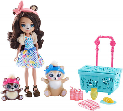 Enchantimals Paws for a Picnic Toy Doll Figure with Pet Animal Set