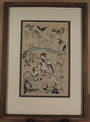 Fine Antique Chinese Silk Embroidered Panel.