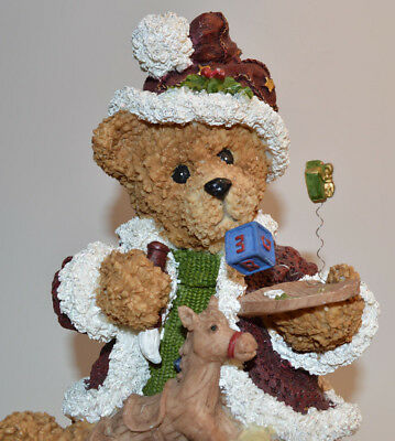 Teddy Bear Christmas Holiday Ornaments Ceramic Figurine Stands 9.5 inches