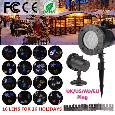 16Pattern Outdoor Moving Snowflake LED Laser Light Projector Xmas Landscape Lamp