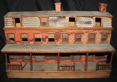Wonderful Old Wooden Building with Paper Lithograph Overlay  no makers name