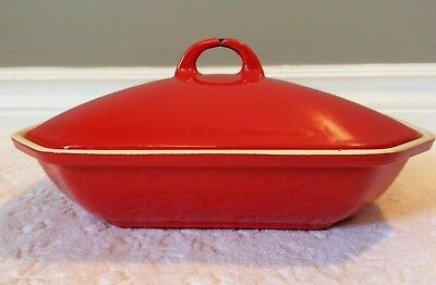 Vintage GRISWOLD; HTF Cherry-RED + White Enameled Cast-Iron Lidded Pate-Terrine