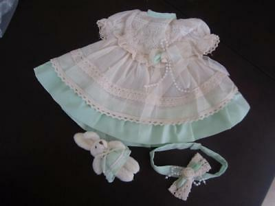 CREAM and MINT GREEN PARTY DRESS & Bunny  Fits CHATTY CATHY FREE SHIPPING