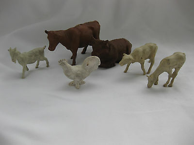 Vintage lot rubber Farm Animals~Cows, Goats, Chickens, Horse