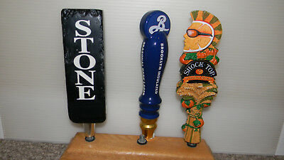 3 Small Craft Beer Tap Handles - Stone, Shock Top & Brooklyn NEW