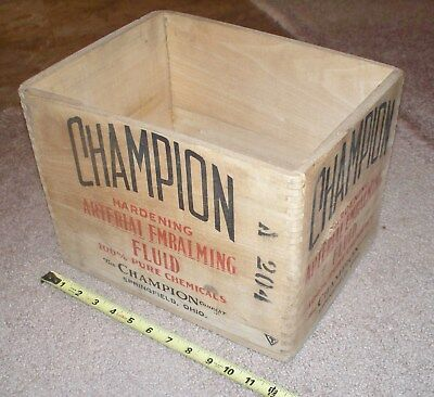 Antique CHAMPION Embalming Fluid Bottle CRATE Box Funeral Mortician Advertising