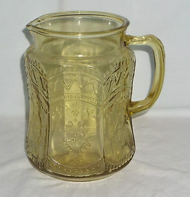 """Federal PATRICIAN AMBER *8"""" PITCHER*MOULDED HANDLE*"""