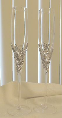 Things Remembered Silver Tone Athena Pave Crystal Wedding Flutes