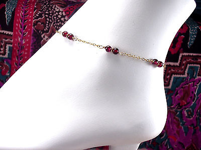 *CKstella*  Genuine Red Garnet Chain Linked 14K Gold gf Anklet Ankle Bracelet